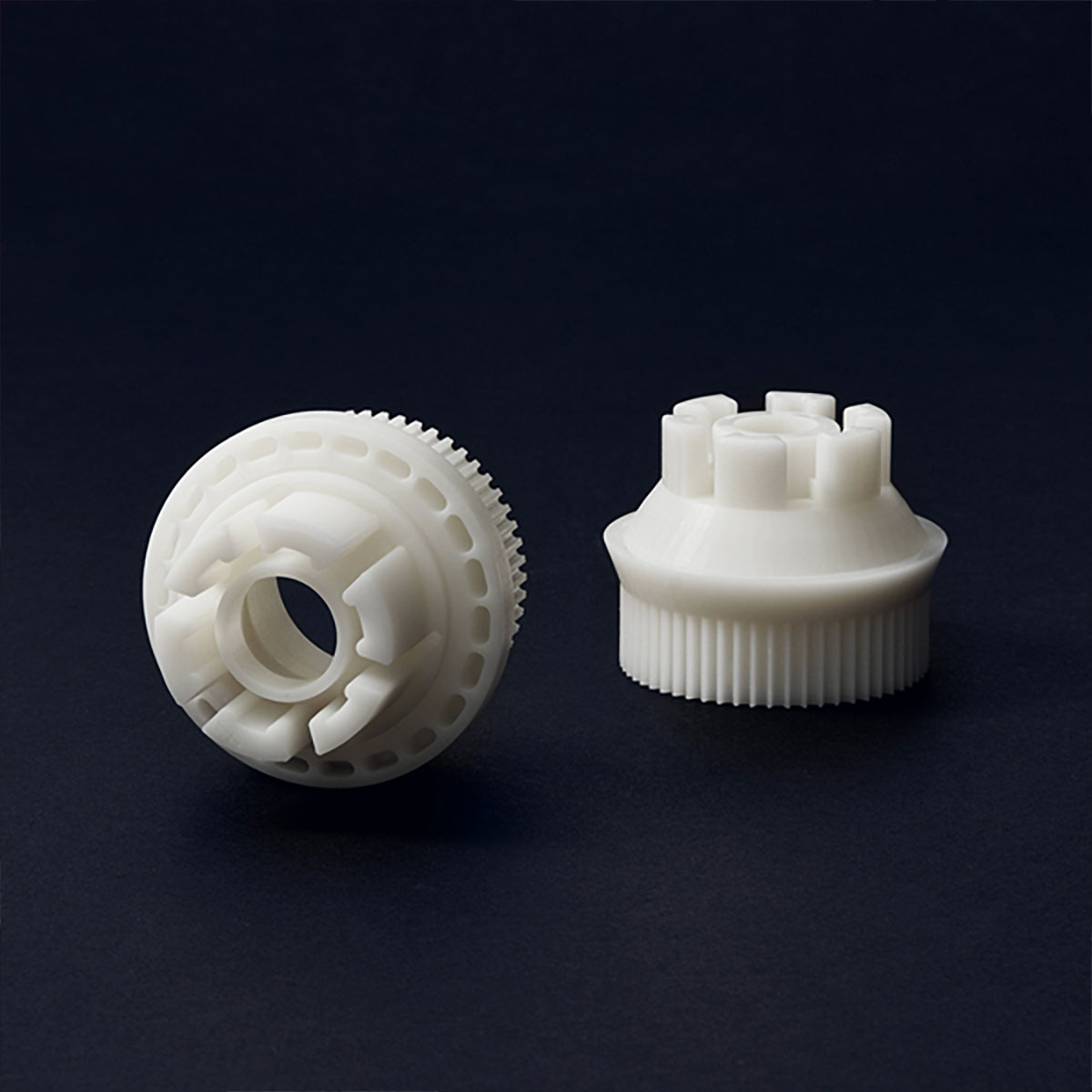 White plastic connector for icosahedron