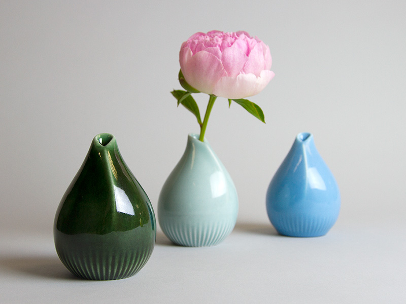 3Oribe green, celadon green and blue 3D printed porcelain vaces by Salokannel